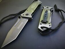 TANTO MILITARY KNIFE GREEN GRAY G-10 HEAVY DUTY Assisted Tactical Rescue NEW