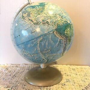 Rand McNally World Portrait Globe Raised Typography Stand Soviet Union USA Gold