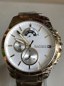 TOMMY HILFIGER WHITE & GOLD STAINLESS STEEL 1791538 MENS CHRONOGRAPH WATCH