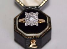 Exquisite Art Deco 18ct Gold & Platinum Diamond Square / Panel Ring UK P1/2