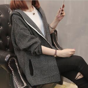 Autumn and winter new women's hooded knit cardigan jacket female sweater women