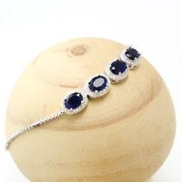 925 Sterling Silver Sapphire Cubic Zircon Gemstones Jewelry Adjustable Bracelet