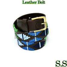 Genuine Leather Polo Men's Belt Multi Color Hand Woven Pattern 95 CM BLT-05