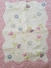 "Pottery Barn Kids Twin Floral Quilt Applique Embroidery 52"" x 38"""
