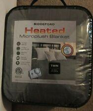 Biddeford Gray Twin Microplush Heated Blanket Nwt