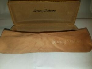 Tommy Bahama Eyeglass Sunglasses Brown Leather Canvas Clamshell Hard Case Cloth