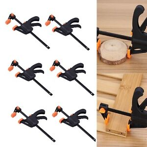 """6x  4"""" Wood Working Clip Bar F Clamp Clamps Grip Ratchet Quick Release Squeeze"""