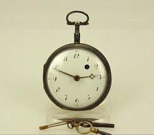 SILBER Spindel Taschenuhr Uhr herren Spindeluhr Taschenuhren watch fusee ca.1820