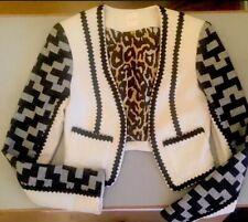 Sass And Bide Aztec Geometric Black Cream Cropped Blazer Jacket UK 6 - 8 XS