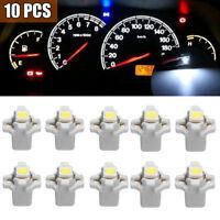 10Pc T5 B8.3D 5050 1SMD Car LED Dashboard Dash Gauge Instrument White Light Bulb