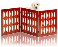 Wooden Safety Pet Gate Dog Free-Standing Foldable Classic Barrier Stairs Doorway