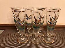 """Set 7 ~  2D Pilsner Gold Trim """"FLYING DUCK"""" Barware Glasses ~ 8 1/4"""" Tall"""