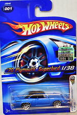 HOT WHEELS 2006 FIRST EDITIONS '70 PLYMOUTH SUPERBIRD #001 BLUE FACTORY SEALEDW+