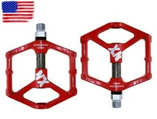 Magnesium alloy Road AM MTB XC Bike Pedals flat Pedal Carbon tube 3 bearings Red