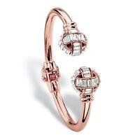 """Baguette-Cut Crystal Rose Gold-Plated Hinged Bangle Bracelet 8"""""""