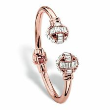 Baguette-Cut Crystal Rose Gold-Plated Hinged Bangle Bracelet 8""