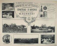 1908 CHATEAU D'ARCHE SAUTERNES COMMUNE BORDEAUX WINERY WINE HENRY GUILLIER VIEWS