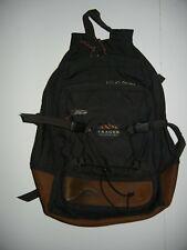 Vtg TRAGER SEATTLE Black/Brown Leather HIKING BACKPACK Travel Camping School Bag