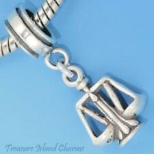 SCALES OF JUSTICE LAWYER JUDGE LIBRA .925 Sterling Silver EUROPEAN Bead Charm