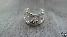 Silver Plated  92 Lucky Clover fully adjustable ring,  FREE P&P.  UK SELLER