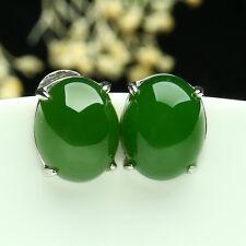 New 925 Silver Natural Grade A Jade Green Jasper Jade Oval Stud Earrings 10x8mm