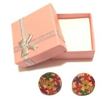 Ladies Handmade Button Earrings, Leaves Flower Trendy Fashion Design