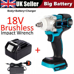520Nm Electric Cordless Brushless Impact Wrench Torque Tool W/Battery+ Charger