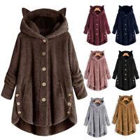 Women Winter Warm Cat Ear Hooded Long Fleece Jacket Coat Parka Plus Size