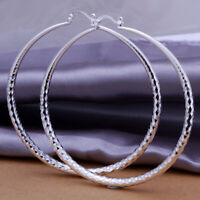 "Ladies Silver Classic Fish Scale 1.5"" Medium Size Hoop Earrings E19"