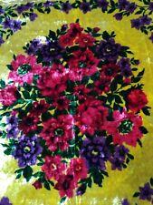 Bedspread vintage 200*130cm 91year velvet yellow rose Soviet USSA cover