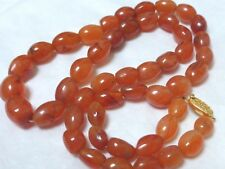 CHINESE ANTIQUE CARNELIAN AGATE BEADS NECKLACE, SILVER CLASP, 64grams