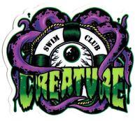 Creature Skateboard Sticker - Swim Club skate snow surf board bmx guitar van new
