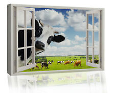 Funny Rural Cow Peeping in Window Canvas wall art print picture