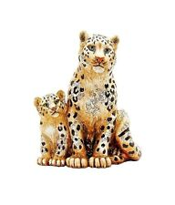 JAY STRONGWATER MOTHER & BABY SNOW LEOPARDS FIGURINE SWAROVSKI CRYSTALS NEW BOX