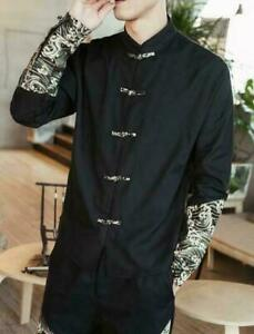Mens Chinese Embroidery Retro Floral Cotton Blend Stand Collar Tang Shirt Blouse