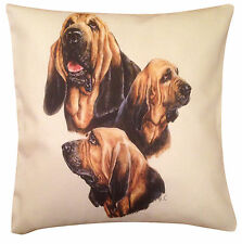 More details for bloodhound group cotton cushion cover - cream or white cover gift item