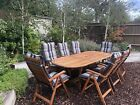 Quality Wooden Garden Furniture Patio Set 8 Chairs With Cusions