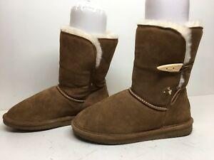 #1A WOMENS BEARPAW WINTER BROWN BOOTS SIZE 8