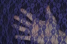 """Stretch Allover Lace Purple 100% Poly 4 Way Stretch 60"""" Wide Fabric by the Yard"""