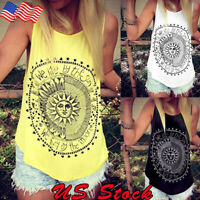 Womens Sleeveless Boho Tank Top Vest Loose Summer Beach Casual T-Shirt Blouse