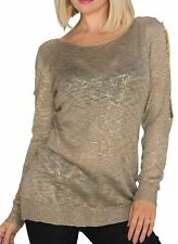 SeXy Miss Damen Strick Pulli glamour Print Pullover 34/36/38 braun gold TOP