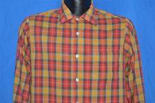 vintage 60s Sears Put On Shop Yellow Red Plaid Square Bottom Shirt Youth Xl 15.5
