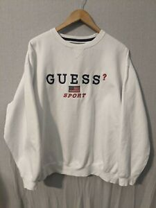 Vintage 80s Guess Sweatshirt Guess Women Sweater Crewneck Guess USA Jumper Guess Luxury Fashion Big Logo Printed Guess Jeans Green Size M