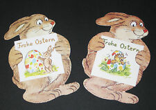 2 Geschenkaufkleber Ostern, seitlicher Hase, inkl. Klapp-Kärtchen