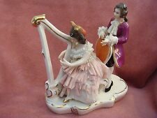 Early Form Wilhelm Rittirsch  Woman-Man -Harp Dresden- Lace 2 Figures Figurine