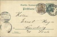 Germany OFFICE IN CHINA Postal Card-HG:10 uprated-Sc#24(x2-one torn off)
