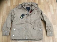 MENS LE BREVE DETACHABLE HOODED FASHION JACKET IN STONE STYLE TERANCE SIZE L