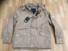 Para Hombre Le Breve con capucha desmontable Chaqueta de moda en piedra estilo Terance Talla L