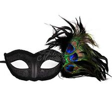 Black Petite Masquerade Mask with Feathers for Women M7003