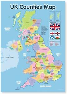 UK Wall Map Laminated With Counties Of United Kingdom Educational Chart A3 Size